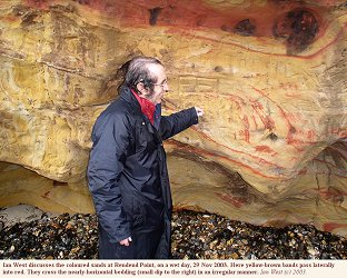 Red banks in the Redend Sandstone, Redend Point, Studland, Dorset