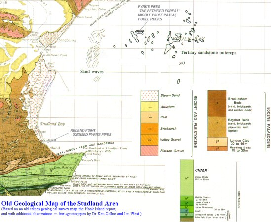 An old geological map of the Studland and Sandbanks area, Dorset, showing the location offshore of pyrite pipes in the Poole Formation, Eocene