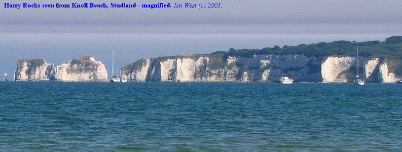 View of Harry Rocks from Knoll Beach, Studland, Dorset, enlarged