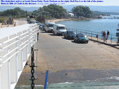Ferry arrives at South Haven Point, next to Shell Bay, Studland, Dorset