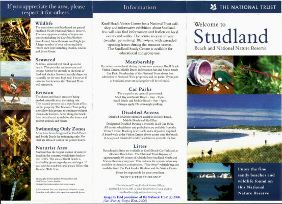 National Trust Pamphlet on  Studland, Dorset, first page