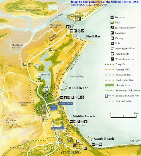 National Trust Pamphlet on  Studland, Dorset - the map enlarged