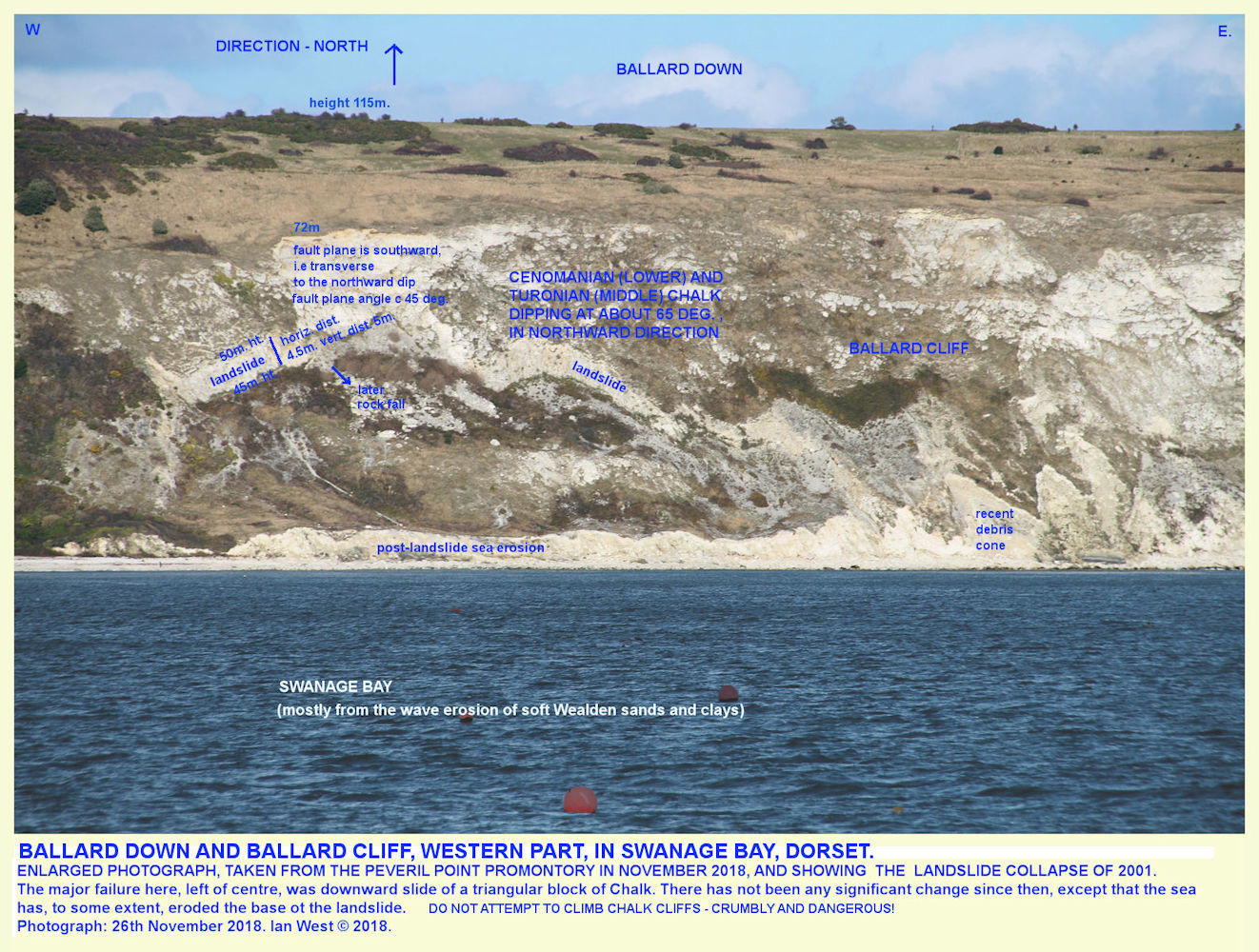 A view across Swanage Bay of the landslipped cliff at the southern side of Ballard Down, as seen, as an enlarged image, from across Swanage Bay,  Dorset, 18th November 2018