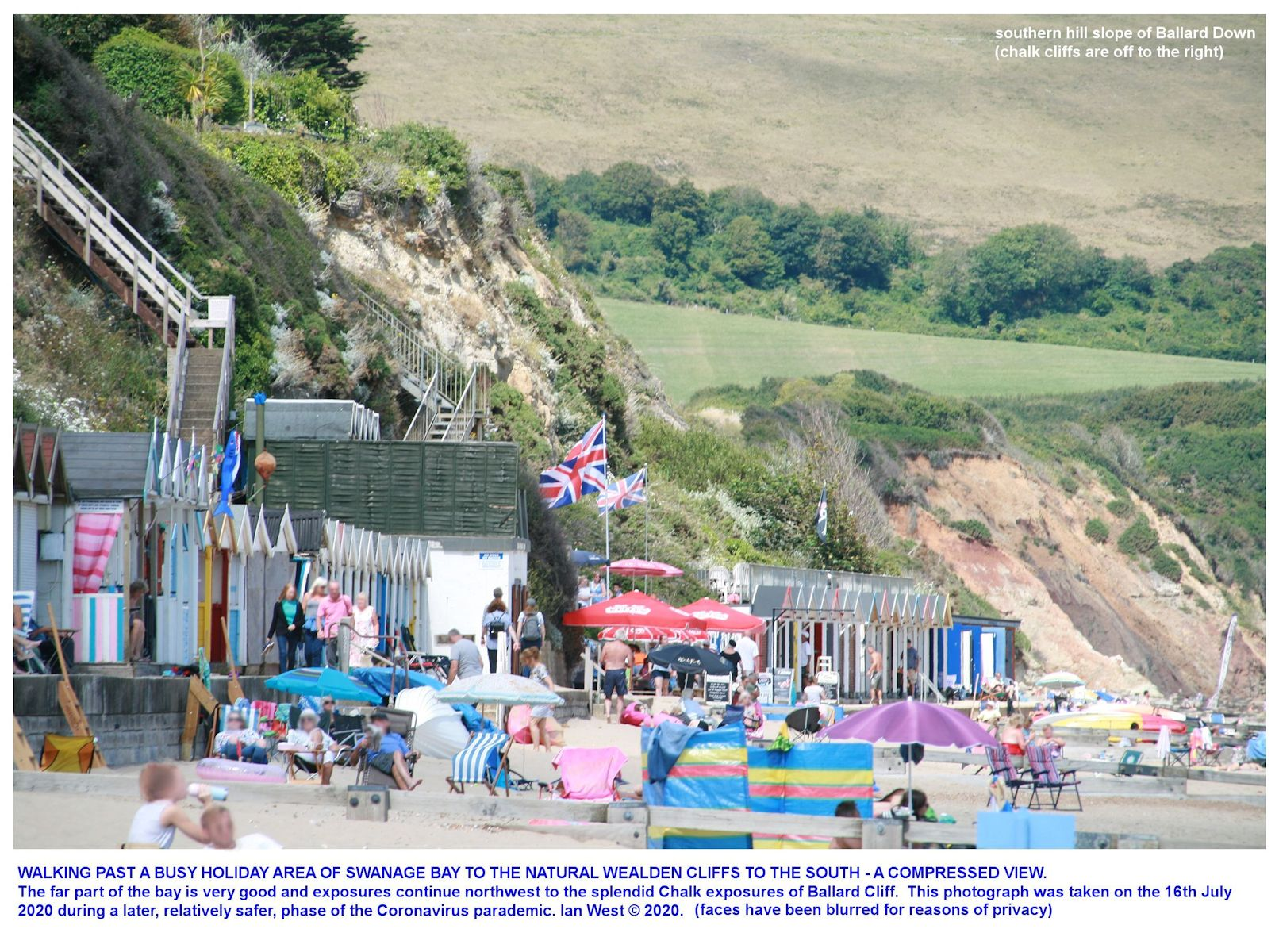 Holiday crowds on the beach at the Wealden cliffs, in the northern part of Swanage Bay