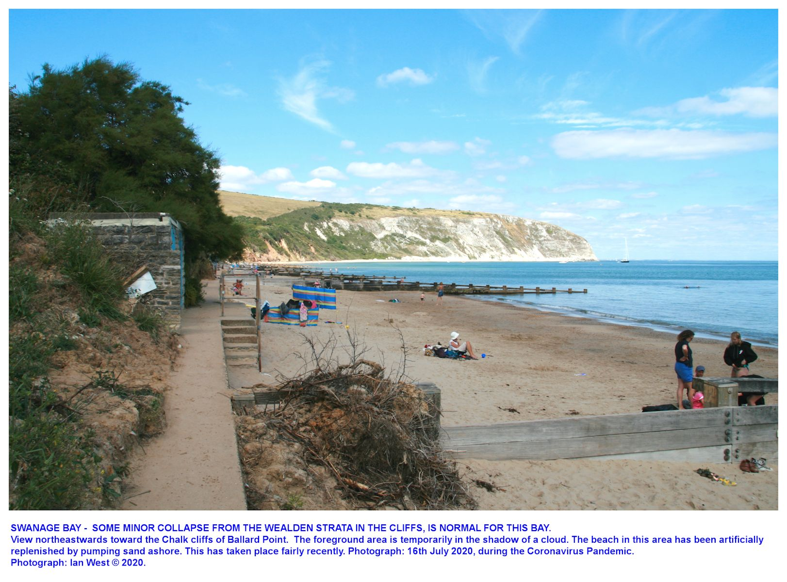 A quiet part of the beach in  New Swanage area, near the centre of Swanage Bay, Dorset, as seen in July 2020