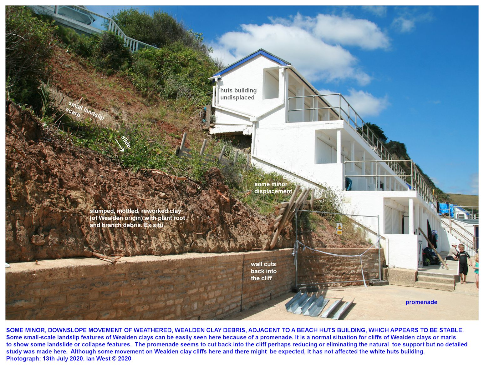 A small landslide of Wealden clay in the general area of beach huts in central Swanage Bay, Dorset, 16th July 2020