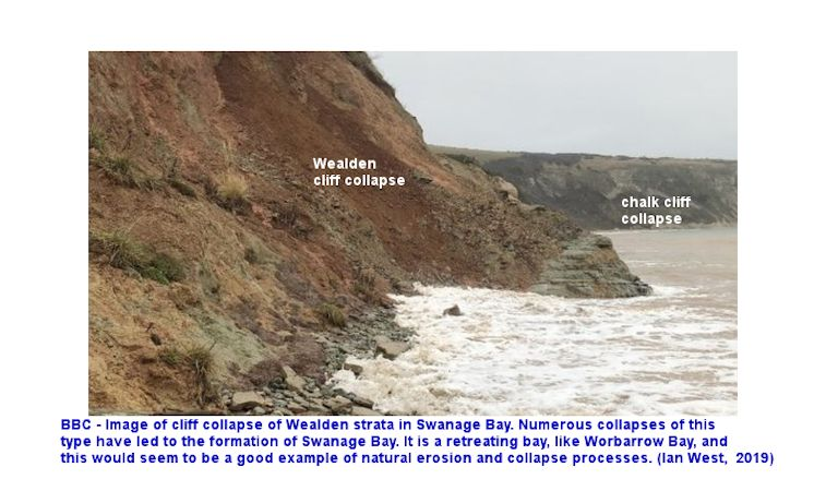 Collapse, as a result of recent coast erosion, of a small part of the Wealden strata of Swanage Bay, Dorset, January 2020, reported by the BBC