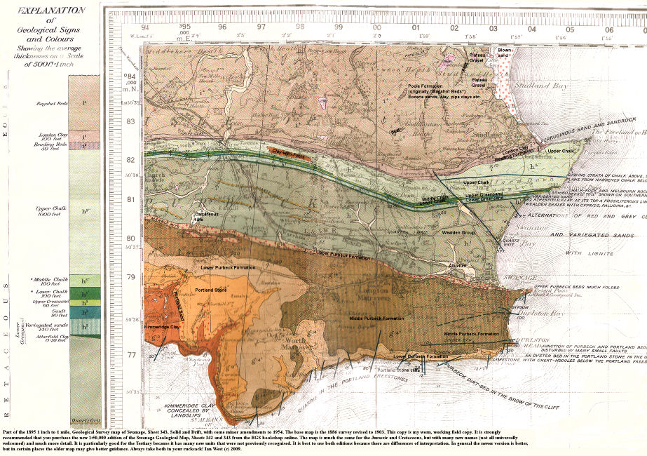 The old 1895 geological map of Swanage, Dorset, sheet 343, - see also the new 2000 edition BGS geological map of Swanage, sheets 342 and part of 343