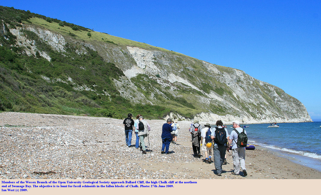 Members of the Open University Geological Society approach Ballard Cliff, Swanage, Dorset, 27th June 2009
