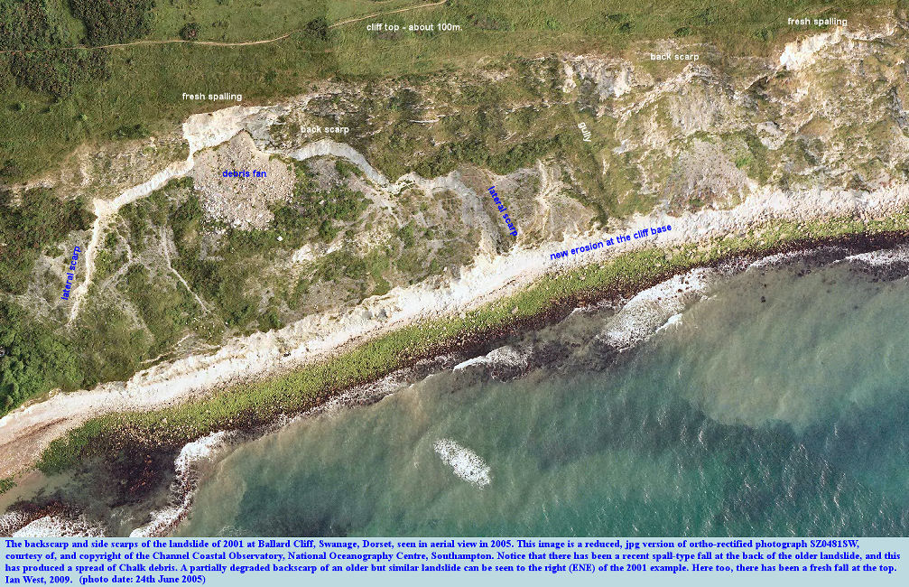 The landslide of 2001 in Ballard Cliff, Swanage, Dorset, seen in an aerial photograph of 24th June, 2005, courtesy of the Channel Coastal Observatory