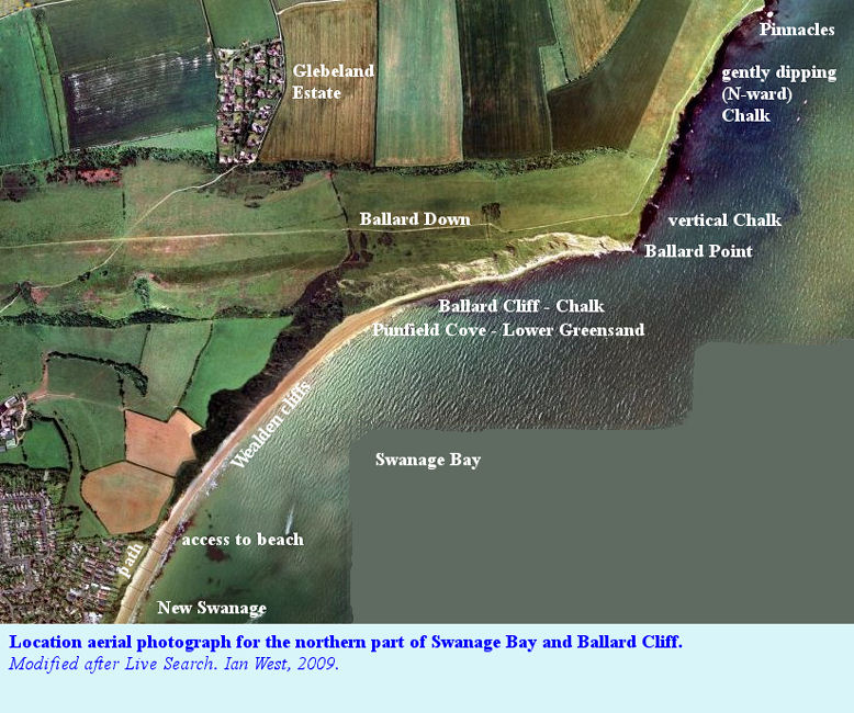 Location aerial photograph of the northern part of Swanage Bay and Ballard Cliff, Isle of Purbeck, Dorset