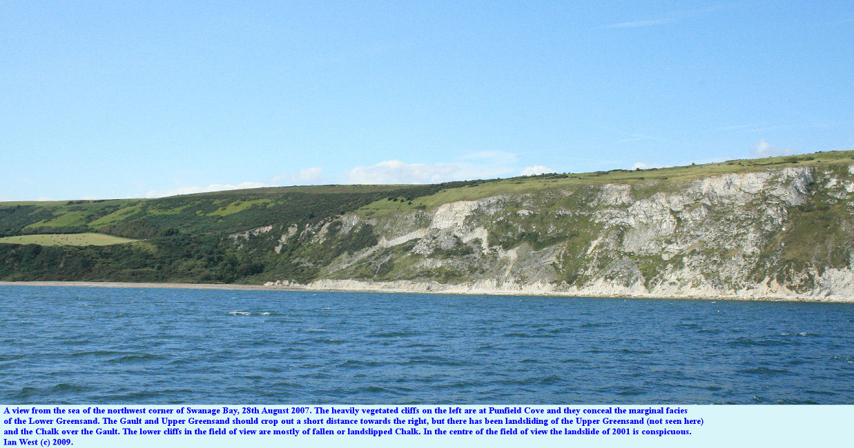 Punfield Cove, part of Ballard Cliffs and the northwest part of Swanage Bay are seen from a boat, 28th August 2007
