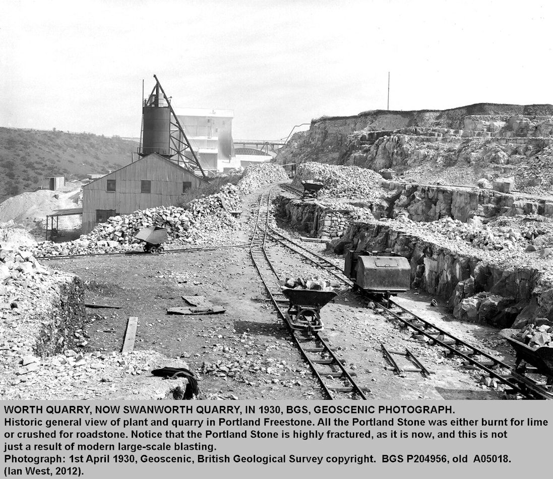 Worth Quarry or Swanworth Quarry, Dorset, in 1930 with waggons transporting Portland Freestone for either burning for lime or for crushed stone