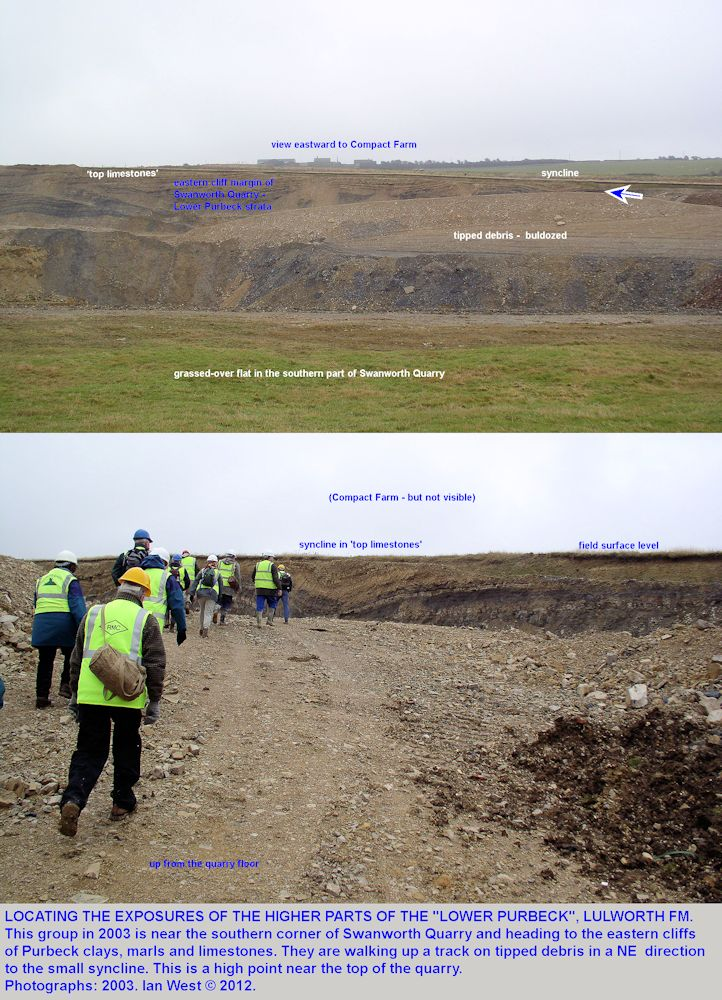 Two photographs to show the location of the syncline in Purbeck strata in the eastern cliffs of Swanworth Quarry in 2003