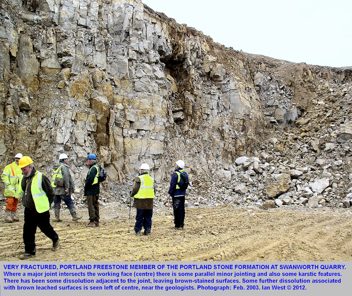 Portland Freestone at Swanworth Quarry, Worth Matravers, Dorset, much fractured and showing some karstic features at a joint, February 2003