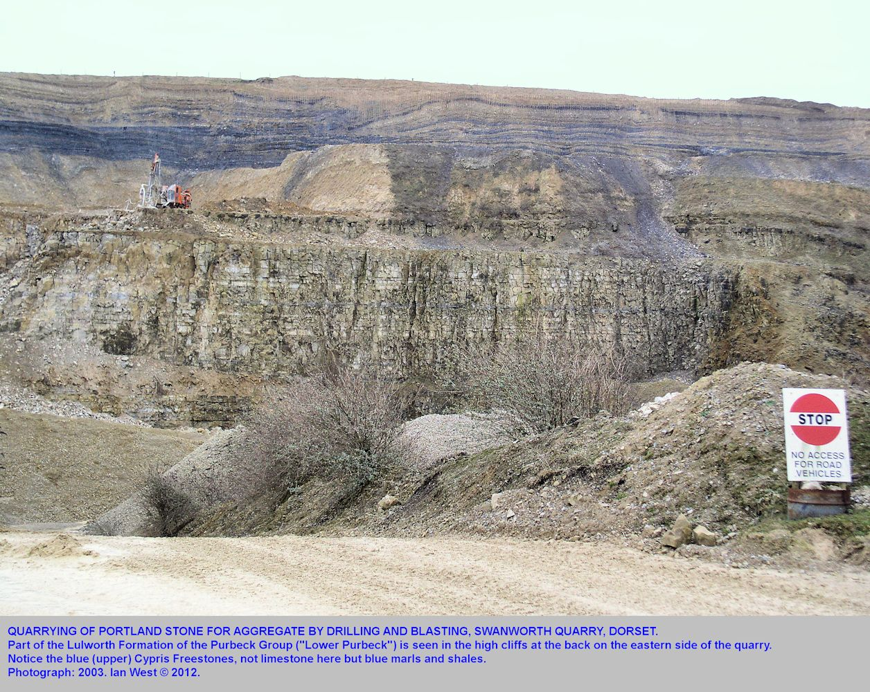 Quarrying of Portland Stone in Swanworth Quarry, looking towards the eastern Purbeck cliff face, 2003