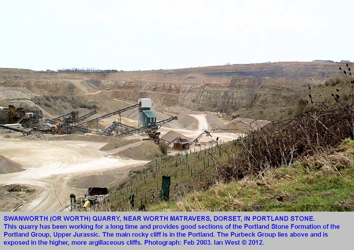 Swanworth Quarry, a general view in 2003, showing crushing of Portland Stone for aggregate