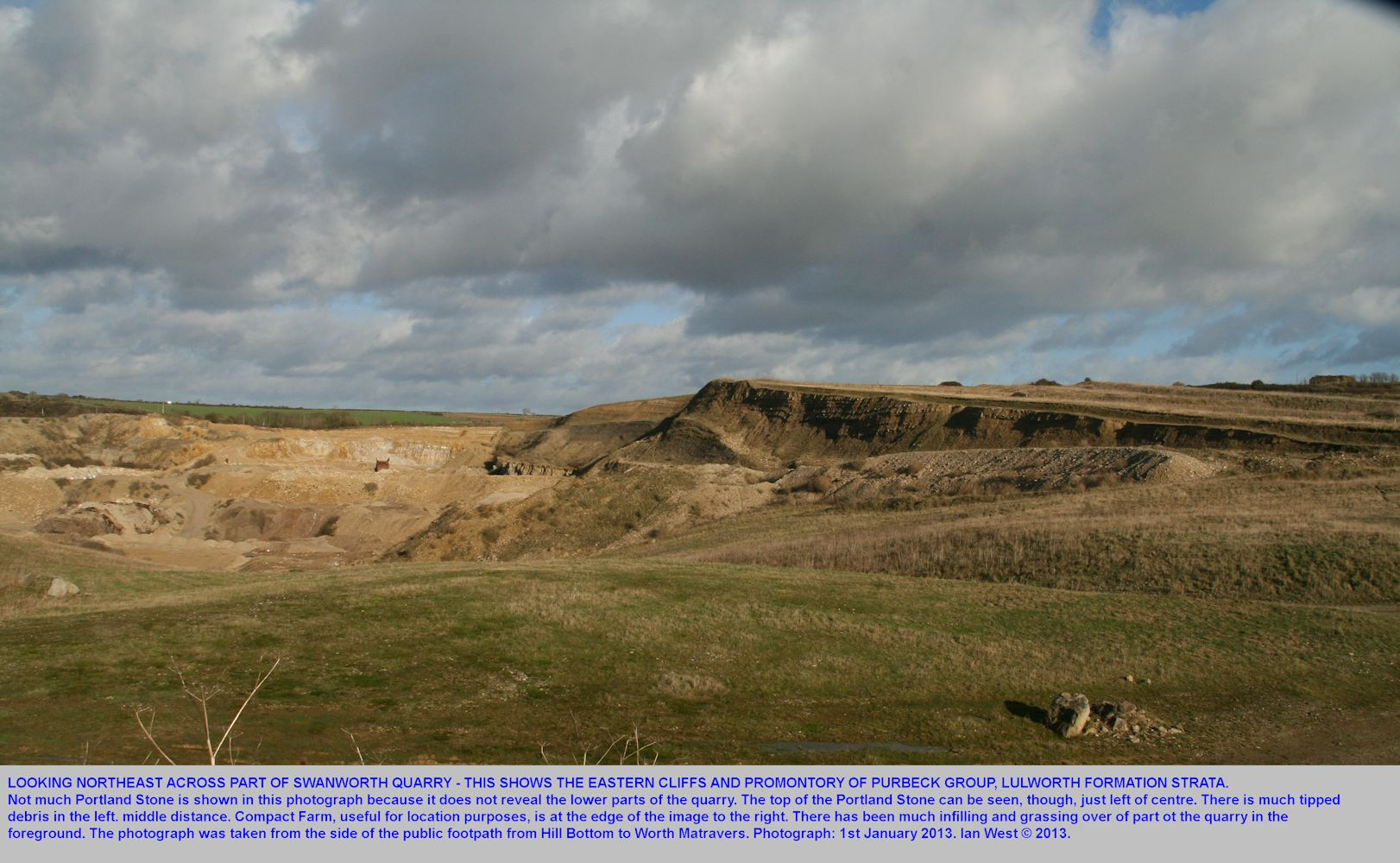 A general overview of the higher parts of Swanworth Quarry, looking towards the northeast, 1st January 2013