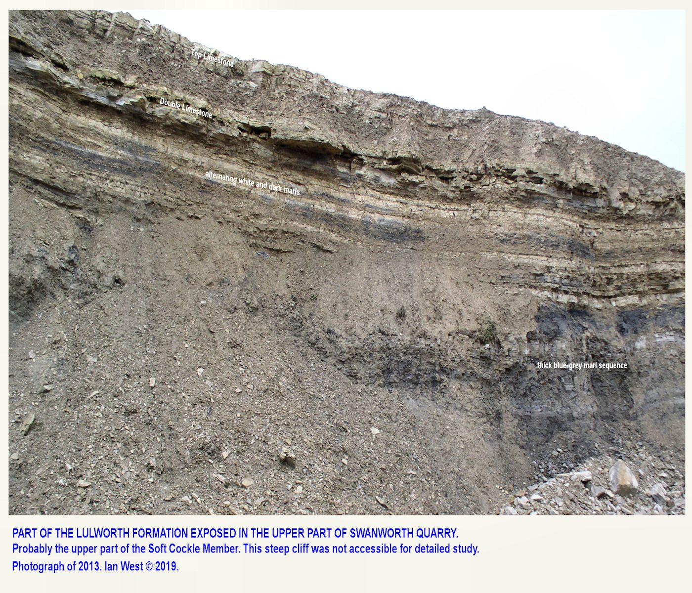 More details of the Lower Purbeck or Lulworth Formation, eastern face of Swanworth Quarry, 2003, image update of 2019