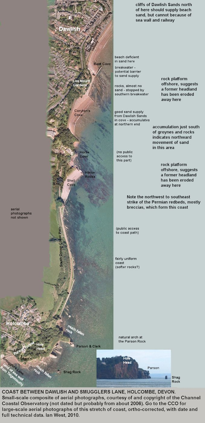 Composite small-scale aerial photograph of the rocky coast between Smugglers Lane, Holcombe, north of Teignmouth, and Dawlish, Devon, courtesy of the Channel Coastal Observatory
