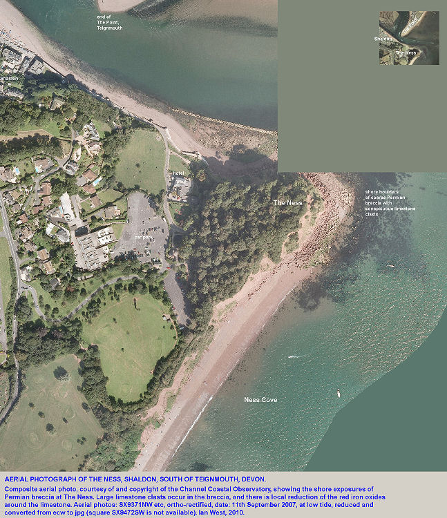 Aerial photograph of The Ness, south of Teignmouth, Devon, and with a coarse Permian breccia exposed on the shore