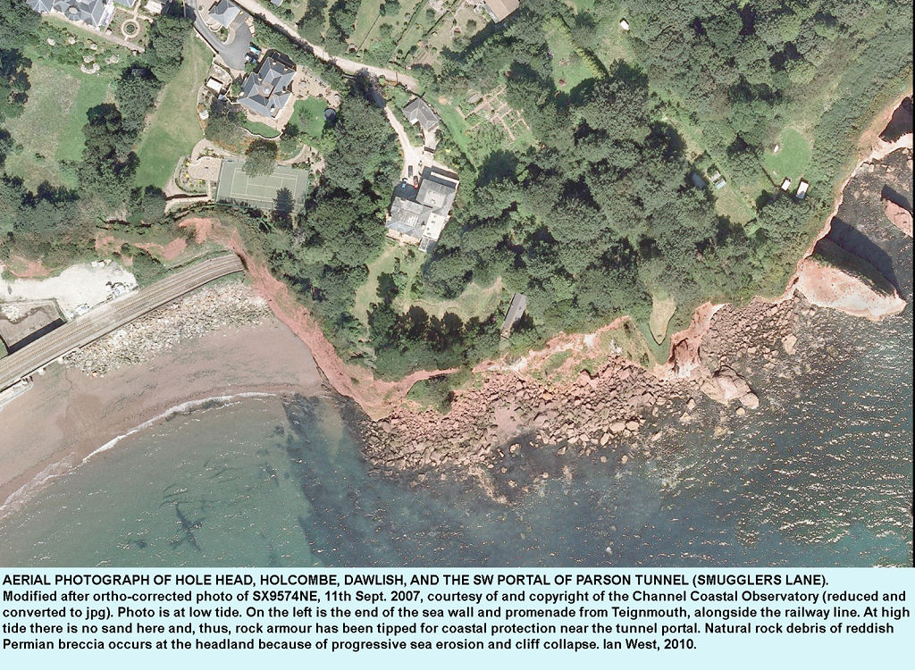 Aerial photograph of Hole Head, Holcombe, Dawlish, Devon, courtesy of the Channel Coastal Observatory, 2007