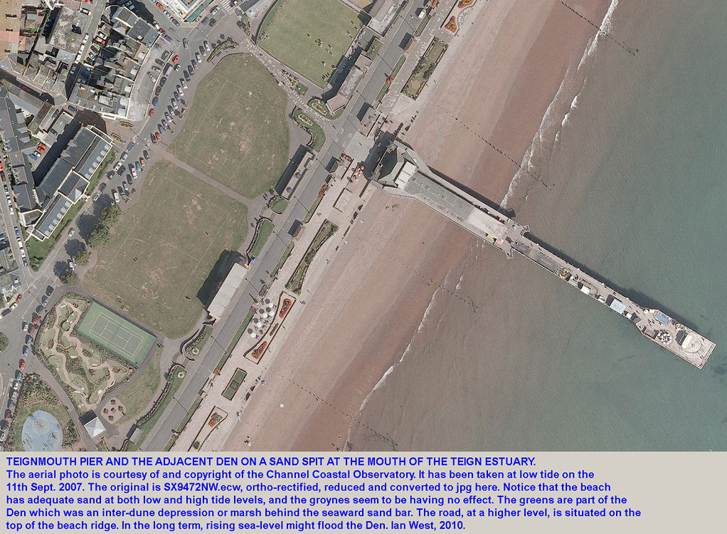 Aerial photograph of Teignmouth Pier and adjacent coast, Devon, 2007