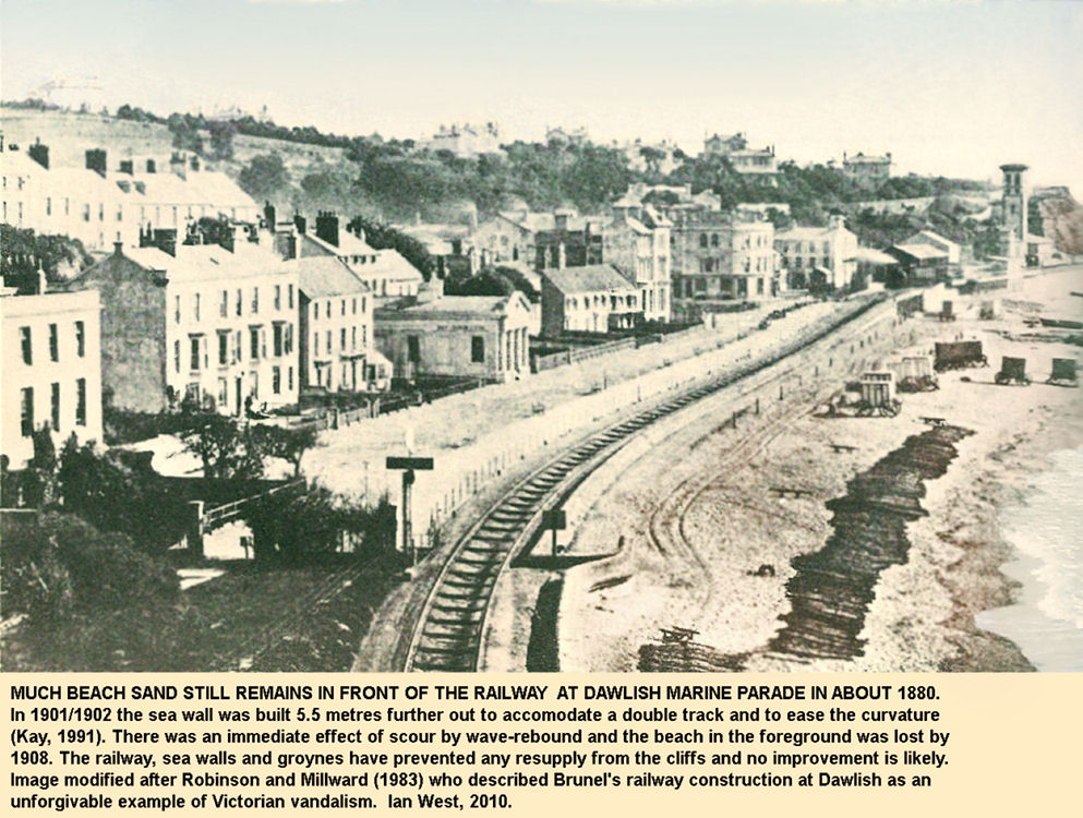 The broad gauge railway at Marine Parade, Dawlish, Devon, in about 1880, when there was still a substantial sand beach here