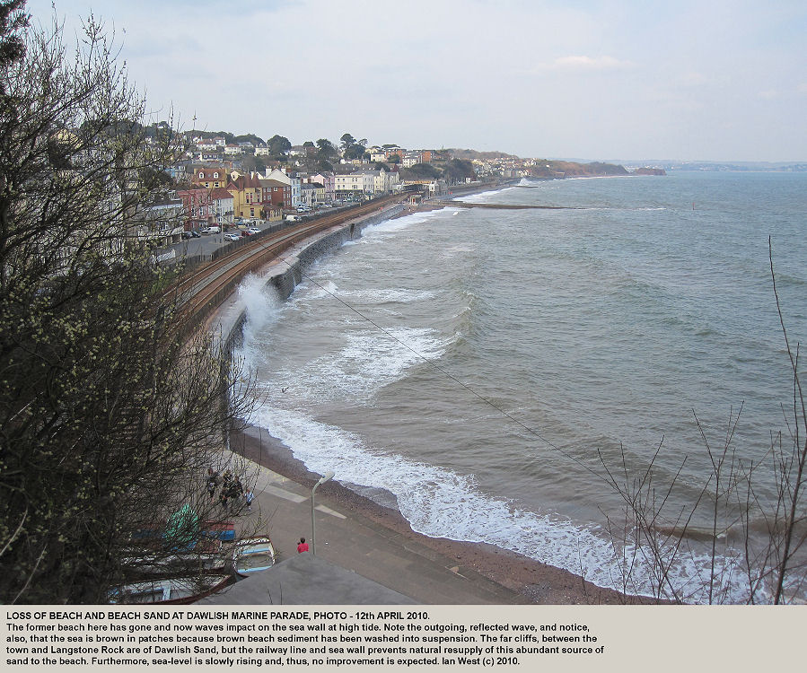 The sea wall and railway line at Dawlish Marine Parade, Devon, in April 2010, with deficiency of beach and beach sand