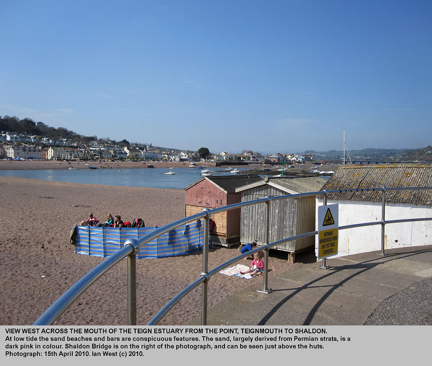Shaldon across the mouth of the Teign estuary seen from The Point, Teignmouth, Devon, 2010