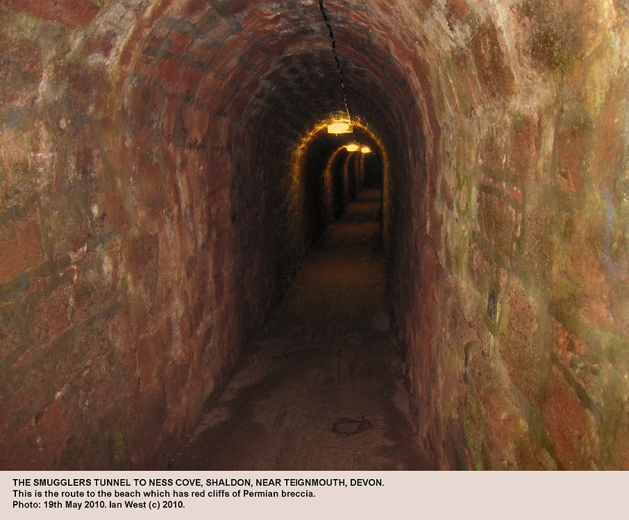 Smugglers Tunnel, the route to the beach at Ness Cove, Shaldon, near Teignmouth, Devon, 2010