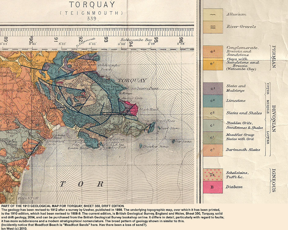 Part of old geological map, 1913, of Torquay, Devon