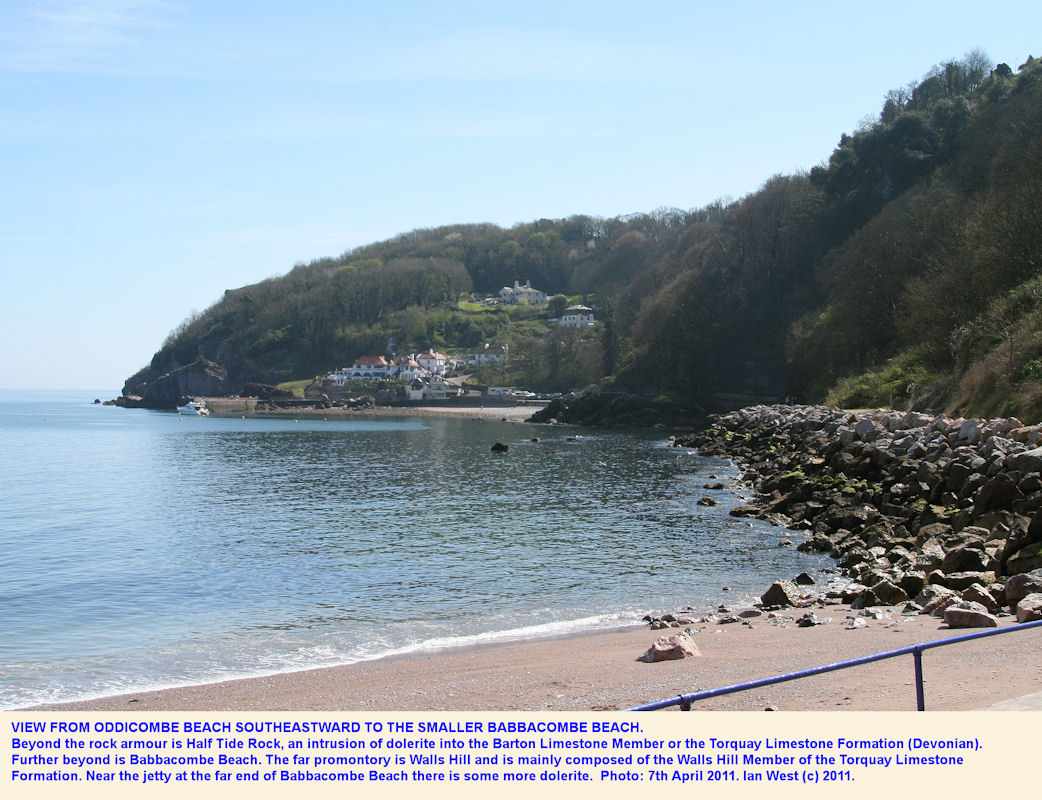 Babbacombe Beach seen southeastward from Oddicombe Beach, Babbacombe near Torquay, Devon, April 2011