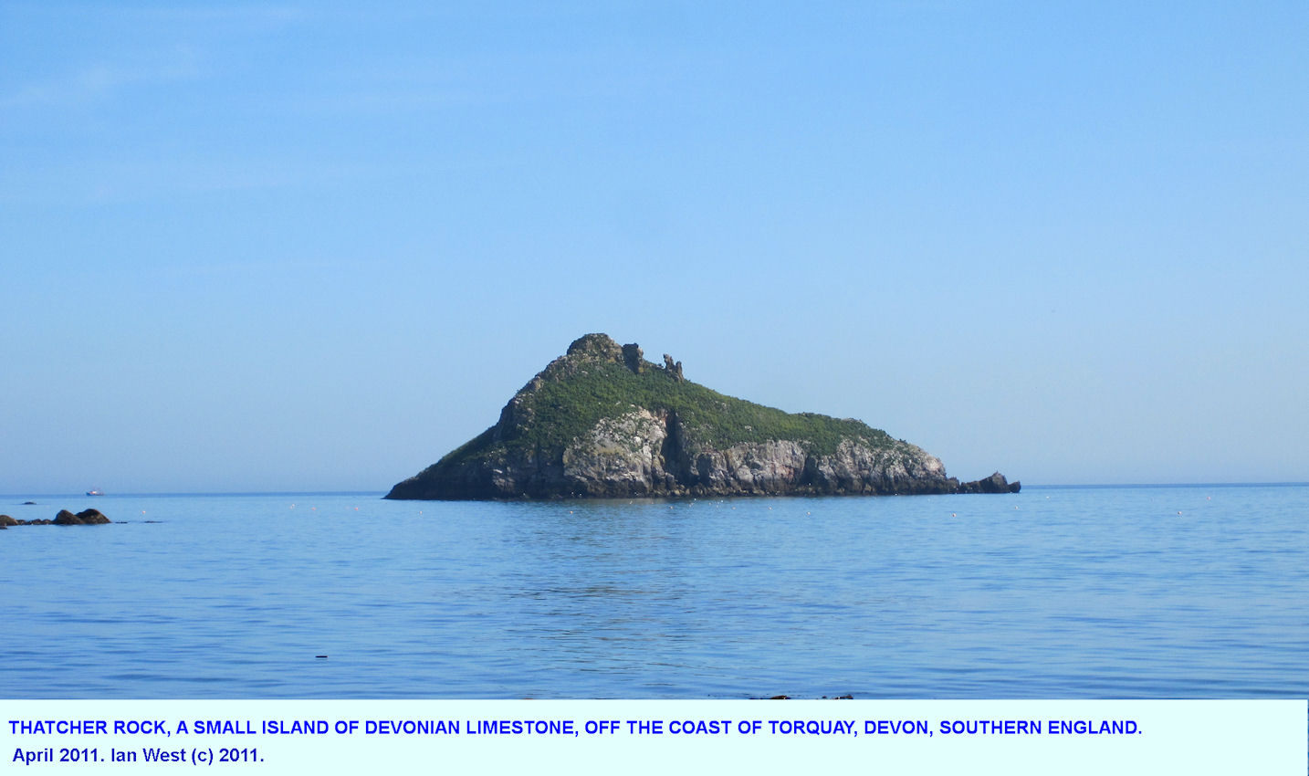 Thatcher Rock, a small island of Devonian Limestone, English Riviera, Torquay, Devon, southern England, 2011