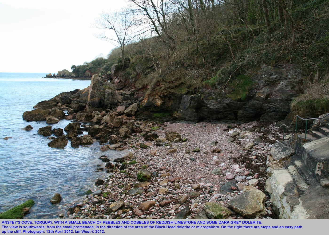 The small beach at Anstey's Cove, Torquay, Devon, April 2012