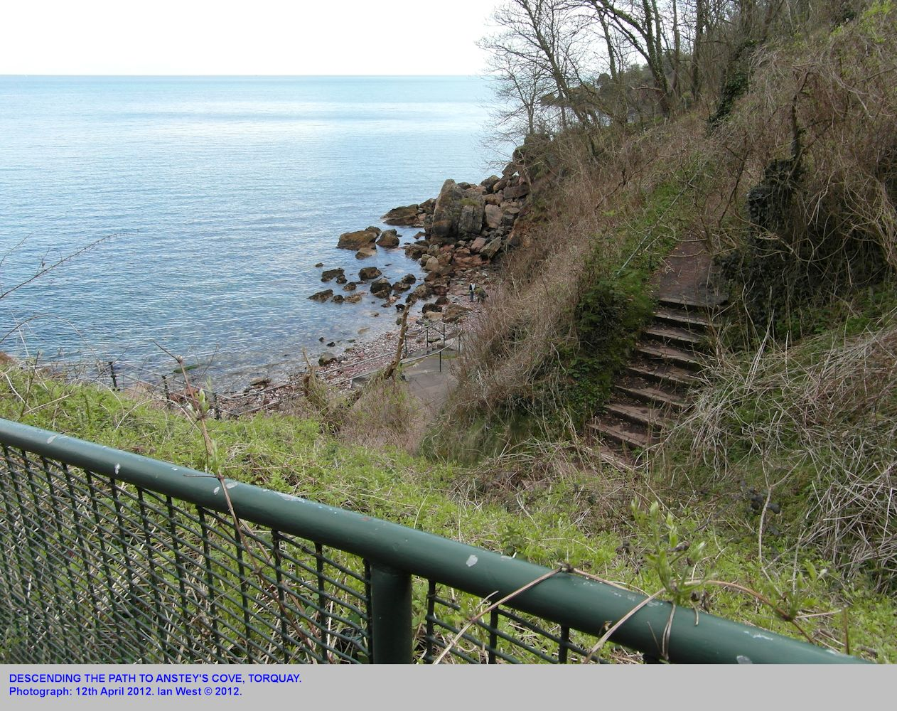 Descending the path to Anstey's Cove, Torquay, Devon, April 2012