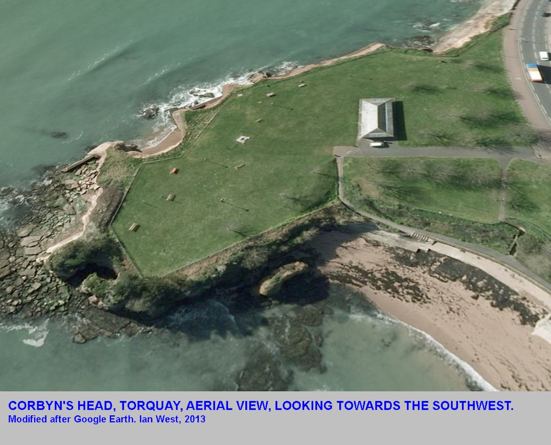 An oblique aerial view of Corbyn's Head, Torquay, Devon