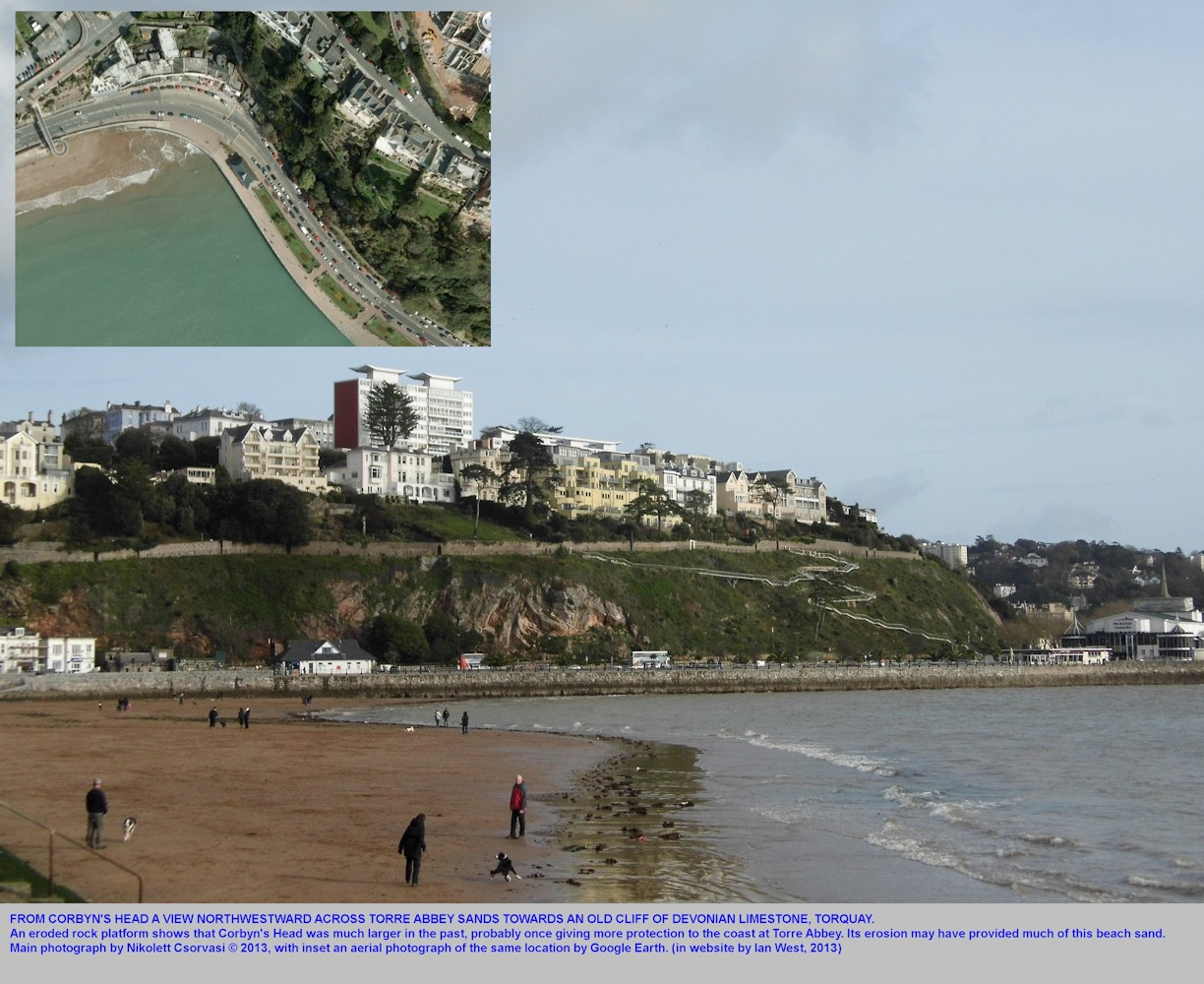 A view from Corbyn's Head across Torre Abbey Sands, Torquay, Devon, 2013