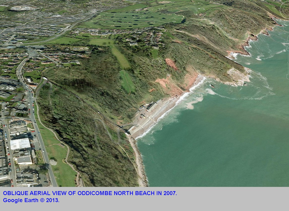 An oblique aerial view of Oddicombe North Beach, Torquay, Devon in 2007