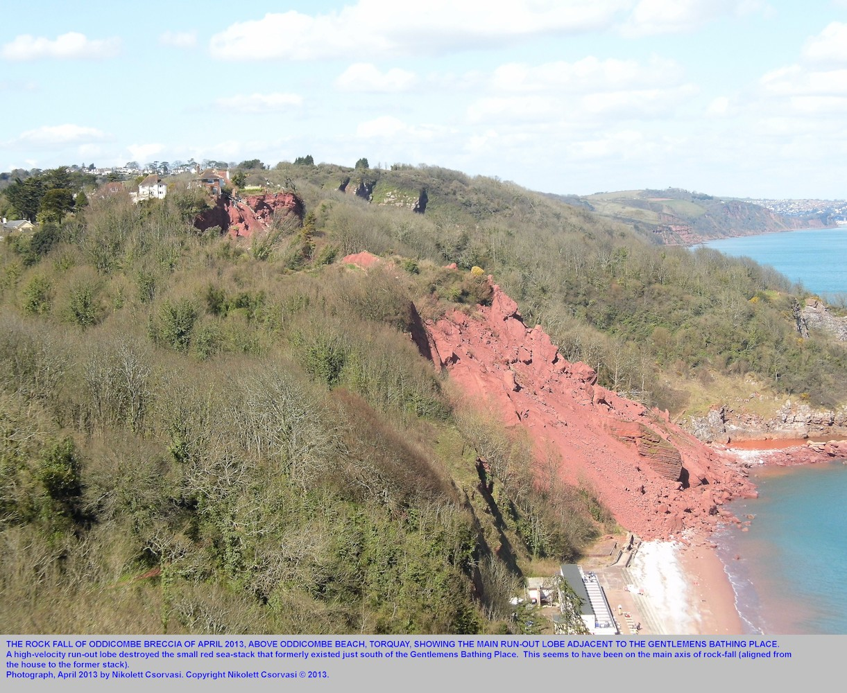 A view of the 2013 rock-fall site at northern Oddicombe Beach, Torquay, Devon, showing the remains of the long run-out lobe near Gentlemens Bathing Place