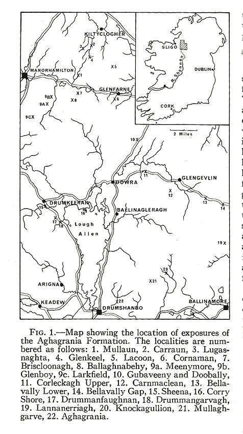 Fig 1 - A location map for the Visean Evaporite exposures of the Aghagrania Formation, County Leitrim, Ireland