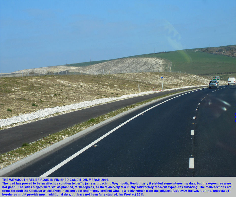 The Weymouth Relief Road, Dorset, March 2011, in finished condition, but with very poor exposures of the strata