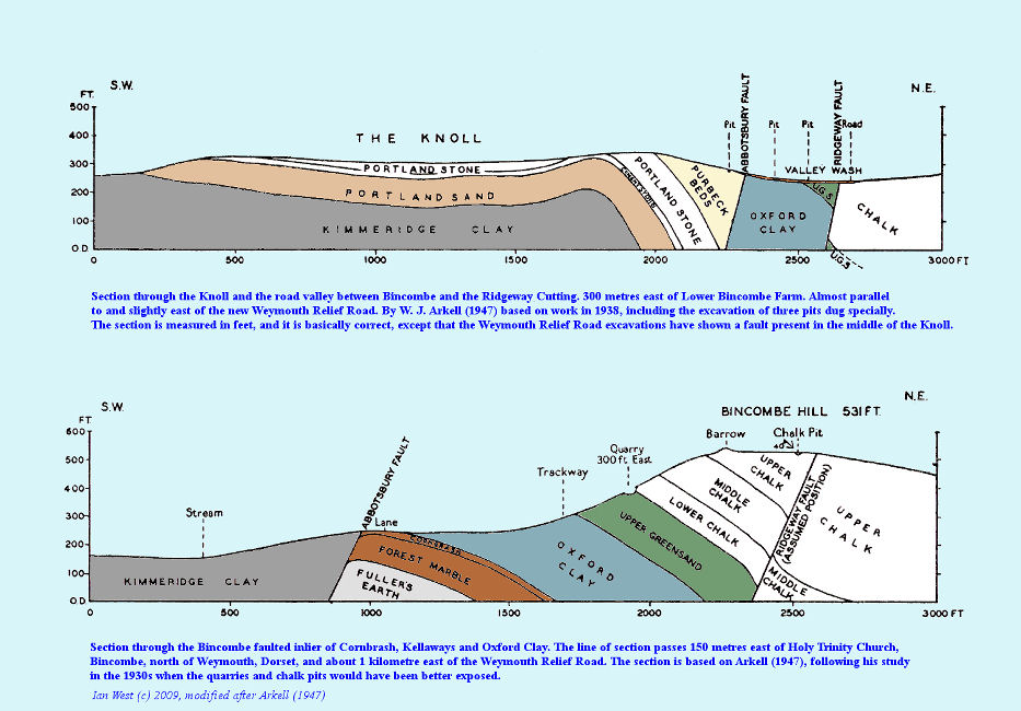Arkell's cross sections of the Ridgeway and Abbotsbury Faults at the Bincombe Inlier, near the Ridgeway Railway Cutting and the Weymouth Relief Road, Dorset