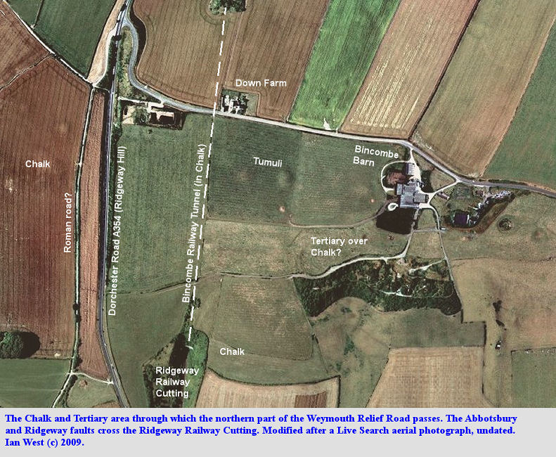 Gneral aerial photograph of the Bincombe Barn area of Chalk and Tertiary strata through which the Weymouth Relief Road, Dorset, will now pass