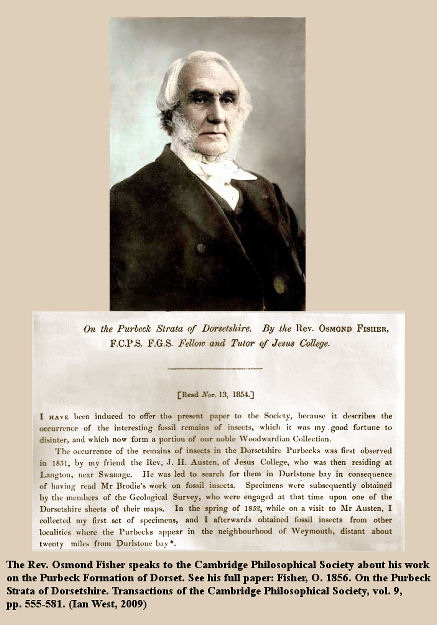 The Rev. Osmond Fisher speaks in 1854 about his work on the Purbeck strata of Dorsetshire