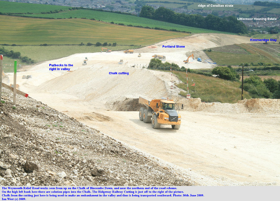 An overview of the Weymouth Relief Road works, Dorset, seen from Bincombe Down at almost the north end and looking southward towards Littlemoor Estate, 30th June 2009