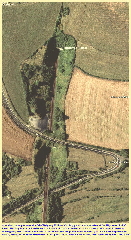 The Ridgeway Railway Cutting, near Upwey, Dorset, seen in aerial view, prior to the construction of the Weymouth Relief Road