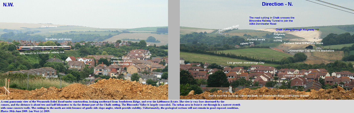 Weymouth Relief Road works, Dorset, a general northward overview from Southdown Ridge, 30th June 2009