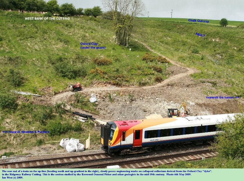 A train passes the Oxford Clay Dyke in the Ridgeway Railway Cutting, near Upwey, Weymouth, Dorset, 6th May 2009