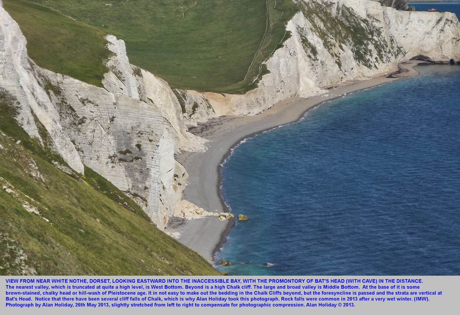Chalk cliffs between White Nothe and Bat's Head, Dorset, including the inaccessible bay, 26th May 2013